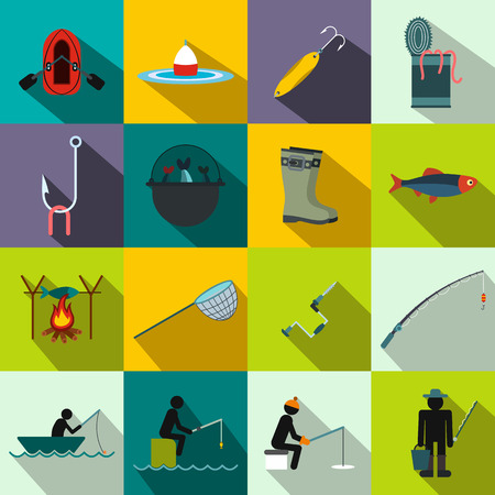 floater: Fishing flat icons set for web and mobile devices Illustration