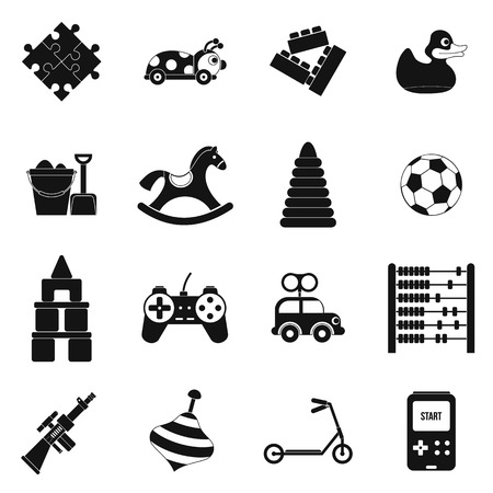 wooden boomerang: Toys black simple icons set isolated on white background