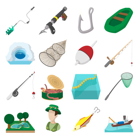 floater: Fishing cartoon icons set isolated on white background Illustration