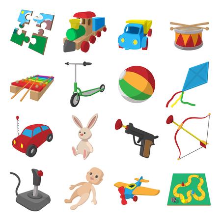 wooden boomerang: Toys cartoon icons set isolated on white background