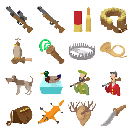duck hunting: Hunting cartoon icons set isolated on white background