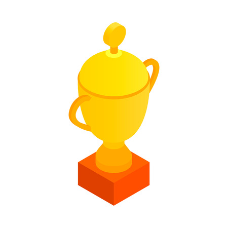 trophy winner: Sports cup isometric 3d icon. Gold champion cup with cap on a white background