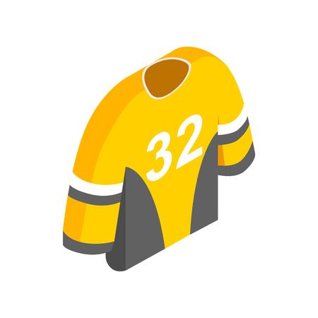32: Hockey uniform isometric 3d icon. Yellow hockey shirt with number 32