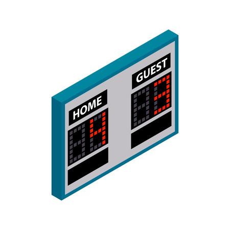 scoreboard timer: Scoreboard isometric 3d icon. Hockey symbol on a white background Illustration