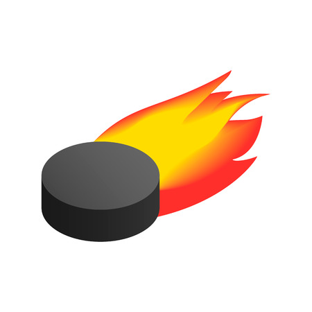 puck: Puck with flame isometric 3d icon. Single illustration isolated on a white background