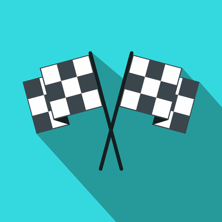 racing checkered flag crossed: Finishing flags flat icon. Car racing black and white flags on a blue background