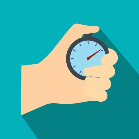 Stopwatch in hand flat icon. Car racing symbol on a blue background