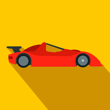 one: Speeding race car flat icon. Car racing symbol on orange background