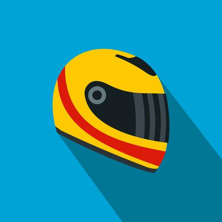helmet moto: Compitiendo con el casco icono plana. casco amarillo y rojo sobre un fondo azul Vectores