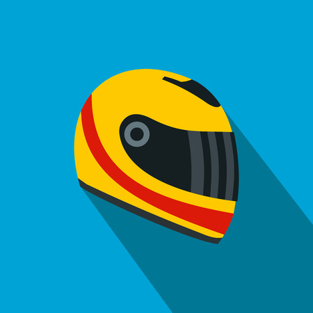 yellow helmet: Racing helmet flat icon. Yellow and red helmet on a blue background