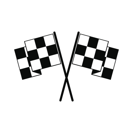 racing checkered flag crossed: Finishing flags black simple icon isolated on white background Illustration