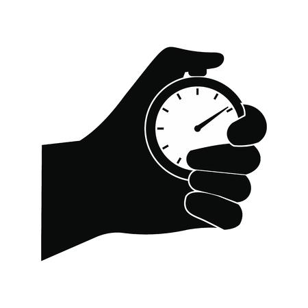 Stopwatch in hand zwart eenvoudig pictogram geïsoleerd op een witte achtergrond Vector Illustratie