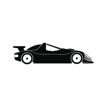 bolide: Speeding race car black simple icon isolated on white background