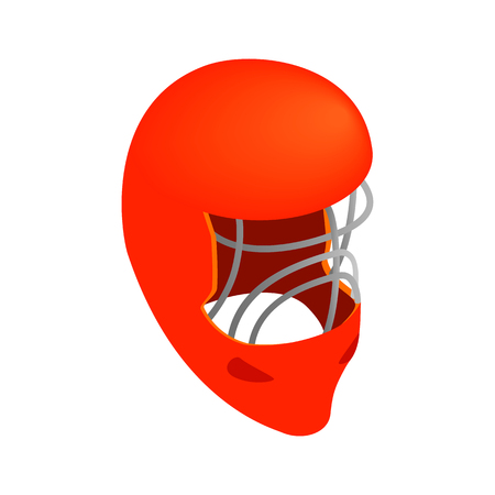 visor: Red goalkeeper hockey helmet with metal protect visor. Isometric 3d icon on a white