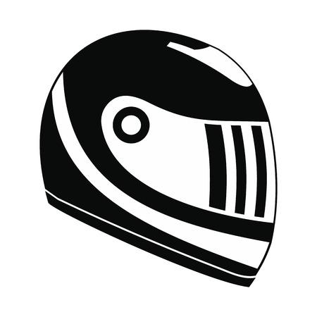 Racing helmet black simple icon isolated on white background Illustration