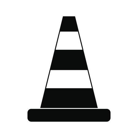 black and white cone: Cone traffic black simple icon isolated on white background Illustration