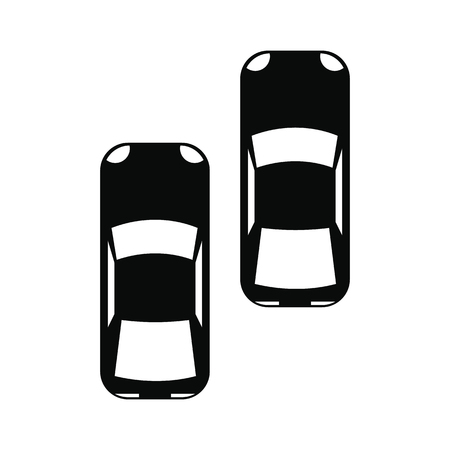 cars race: Two fast moving race cars black simple icon