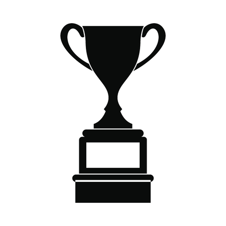trophy winner: Sports cup black simple icon isolated on white background