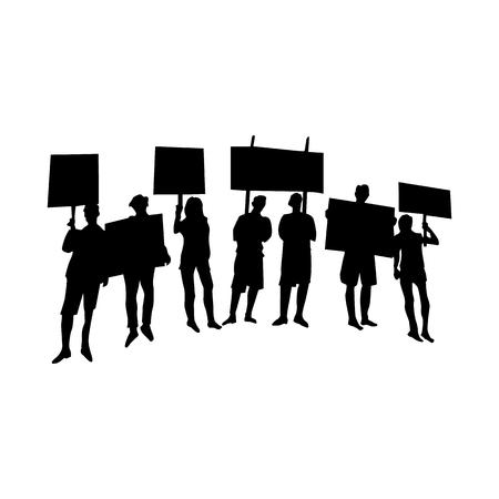 Incitare o protestare folla con bandiere e striscioni silhouette