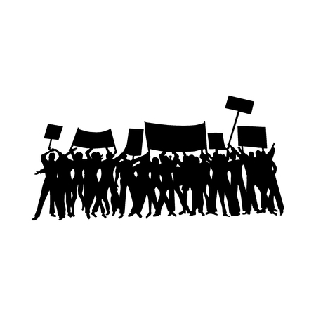 a group of people protesting: Cheering or protesting crowd with flags and banners silhouette