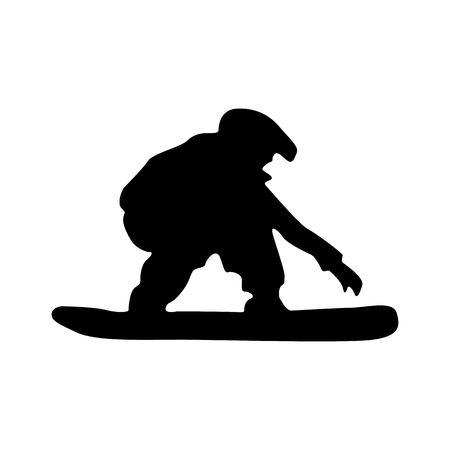 snowboarder: Snowboarder black silhouette isolated on white background
