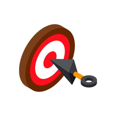 ninja tool: Ninja weapon kunai throwing knife with target isometric 3d icon on a white background