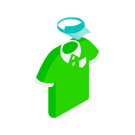 green man: Green man polo shirt  and blue cap isometric 3d icon on a white background