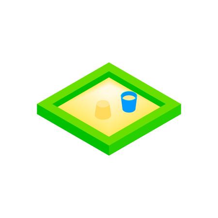 sandbox: Sandbox on a playground isometric 3d icon on a white background