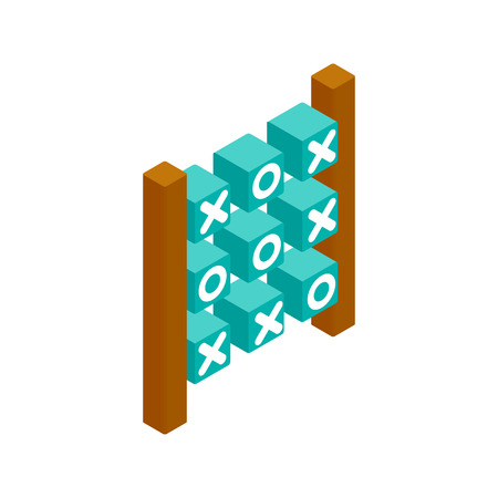 x games: Tic tac toe game isometric 3d icon on a white background