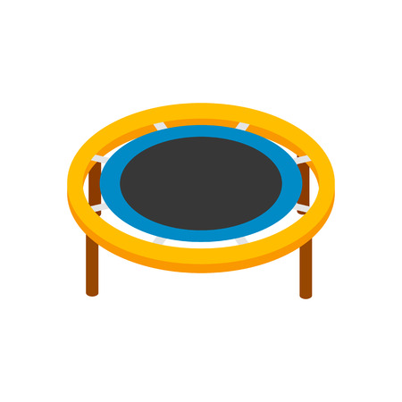 trampoline: Trampoline jumping isometric 3d icon on a white background