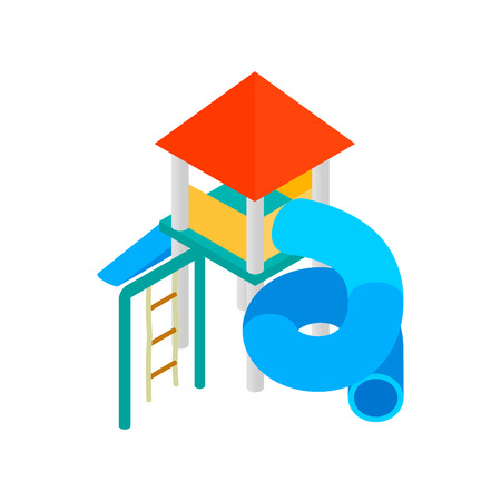colorful slide: Colorful slide with a roof for the playground isometric 3d icon on a white background