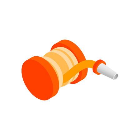 winder: Red fire hose winder roll reels isometric 3d icon on a white background