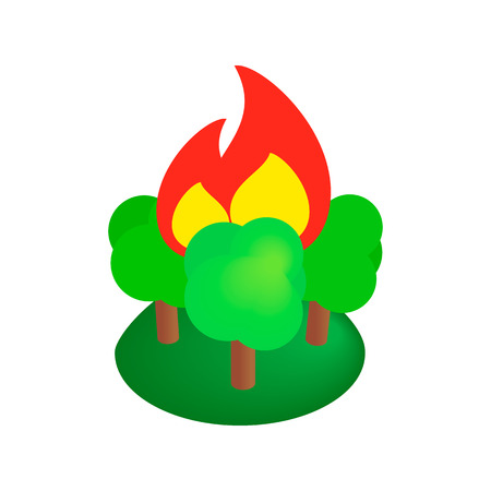 conflagration: Burning forest trees isometric 3d icon on a white background