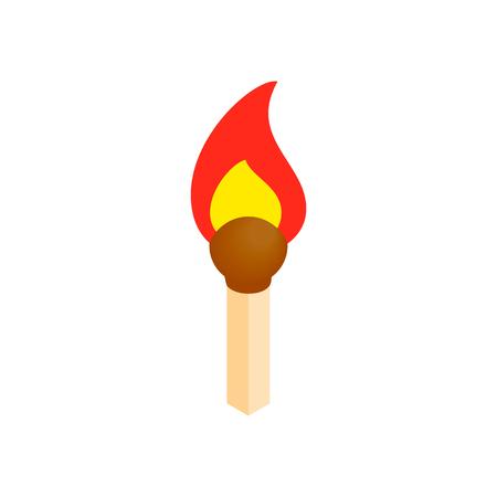 Burning match isometric 3d icon on a white background