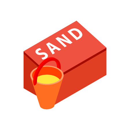 vigilance: Box for sand to fire safety with bucket isometric 3d icon on a white background
