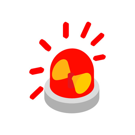 Siren red flashing emergency light isometric 3d icon on a white background Illustration
