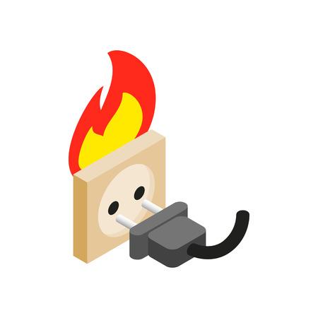 fire plug: Burning socket isometric 3d icon on a white background Illustration