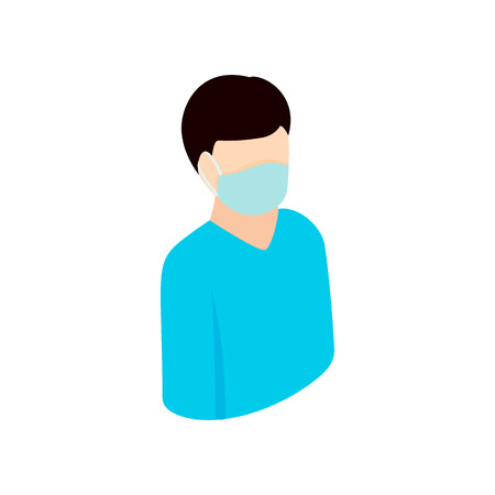 Man wearing a protection mask isometric 3d icon. Man in blue uniform on a white Ilustrace