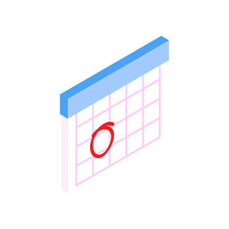 menstrual: Calendar with marks menstrual days. Isometric 3d icon on a white background