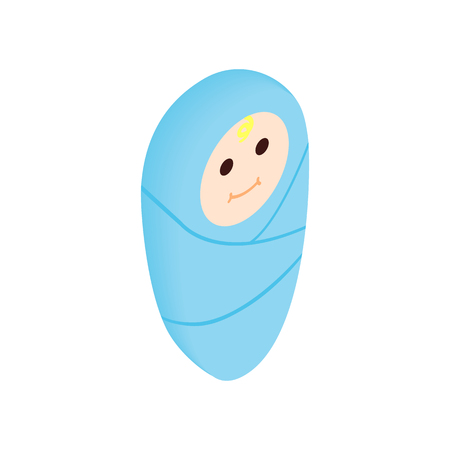 swaddling: Infant wrapped in swaddling clothes isometric 3d icon. Newborn in blue swaddling clothes
