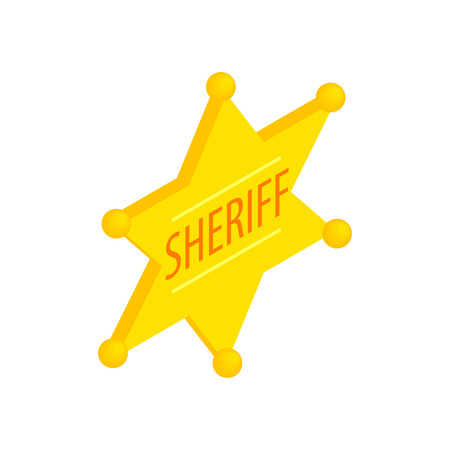 the marshal: Sheriff star isometric 3d icon on a white background Illustration