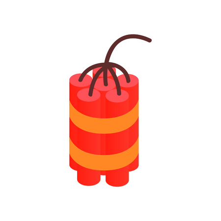 dynamite: Red dynamite sticks isometric 3d icon on a white background