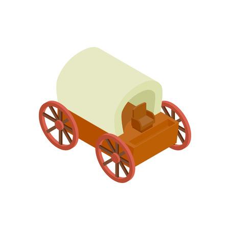 Westplanwagen isometrische 3D-Symbol auf weißem Hintergrund Vektorgrafik