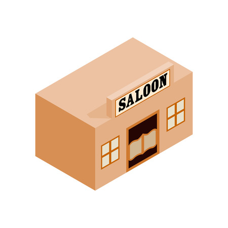 lawless: Western saloon isometric 3d icon on a white background
