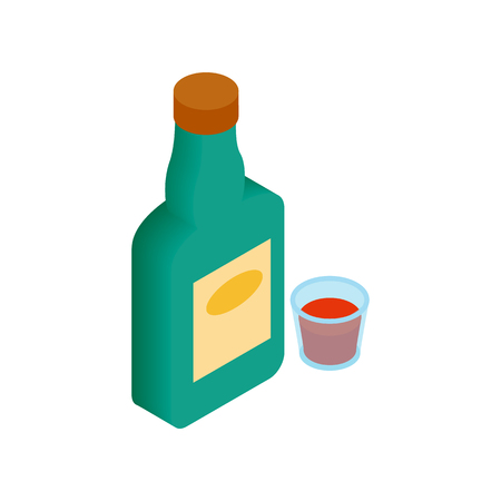 scotch whisky: A bottle of alcohol and a glass isometric 3d icon on a white background