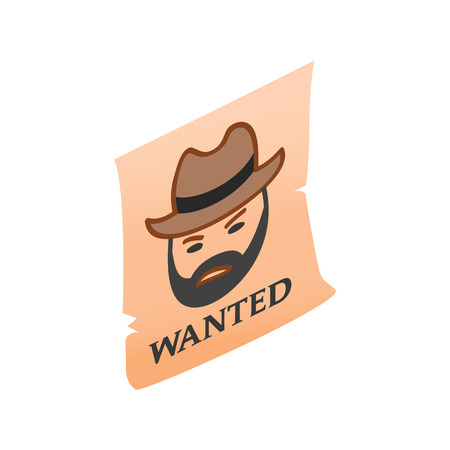 desperado: Vintage wanted poster isometric 3d icon on a white background Illustration