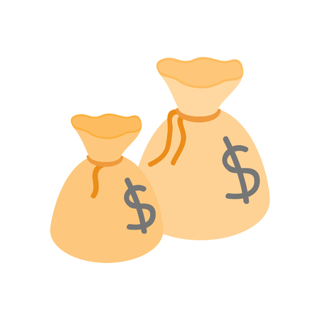 two us dollar: Two money bags with US dollar sign isometric 3d icon on a white background