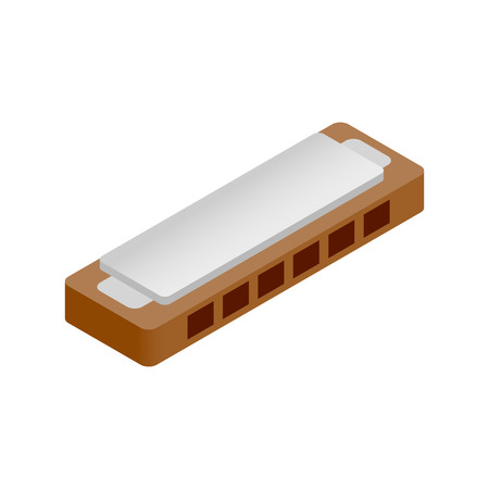 harmonica: Harmonica isometric 3d icon on a white background