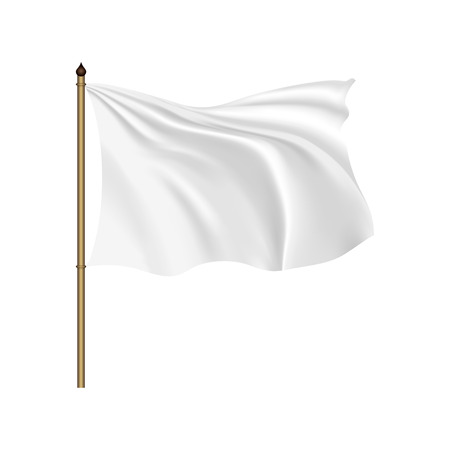 White flag waving on the wind on a white background Illustration