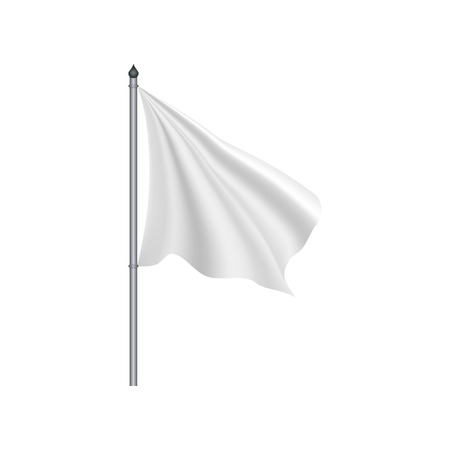 surrender: White flag waving on the wind on a white background Illustration